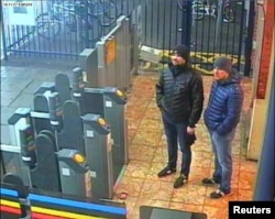 Men indentified by Britain as Alexander Petrov and Ruslan Boshirov, formally accused of wanting to murder former Russian intelligence officer Sergei Skripal and his daughter Yulia in Salisbury, have emerged on CCTV at Salisbury Station, March 3, 2018.