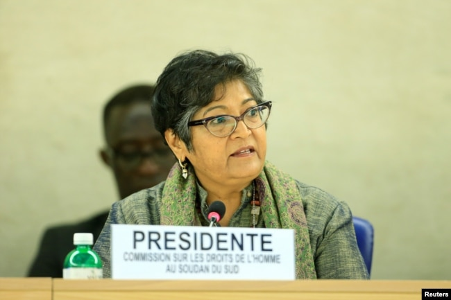 """FILE - Yasmin Sooka, chairwoman of the U.N. Commission on Human Rights in South Sudan, addresses the U.N. Human Rights Council in Geneva, Dec. 14, 2016. Sooka has accused the government in Juba of being behind a """"brutal campaign of repression."""""""