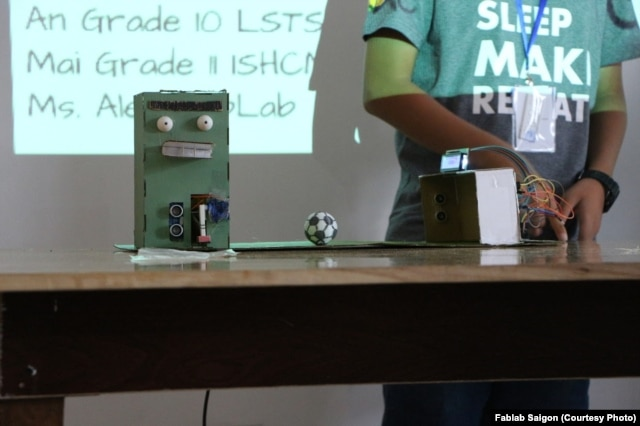 Creative inventions like this one are made at Fablab, which is part of a growing movement in Vietnam relying on technology and practical training to get young people excited about finding a career.