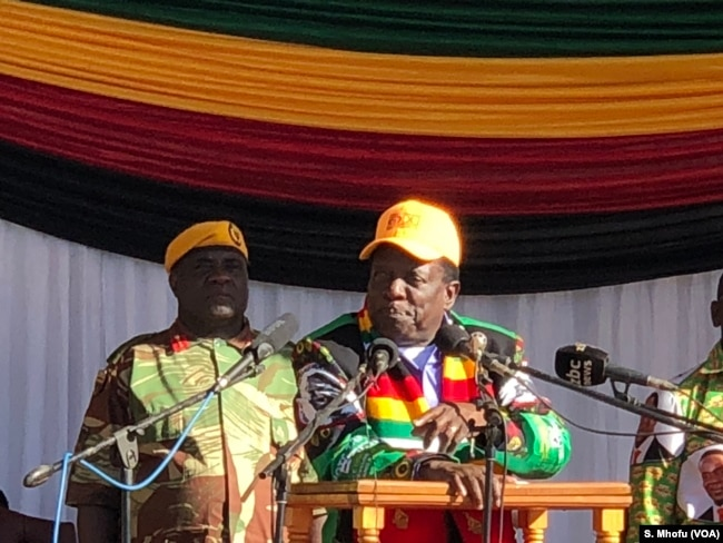 President Emmerson Mnangagwa addresses members of ruling ZANU-PF in Mutoko, June 9, 2018, about 150 km east of Harare.