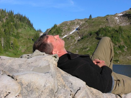Taking an after dinner break on a comfortable rock slab (and trying to not hear the mosquitos overhead!)
