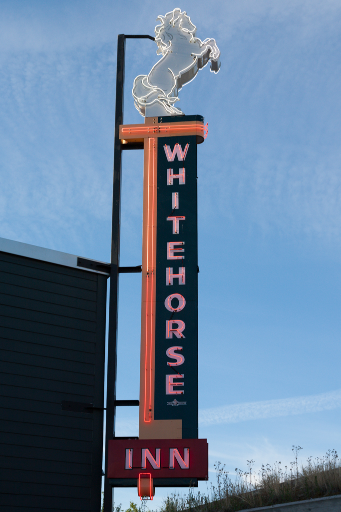 Whitehorse Inn sign on display at the MacBride Museum