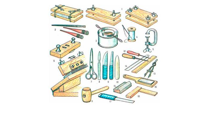 Vereiste hulpmiddelen voor de productie van binding voor het oude boek doen het zelf