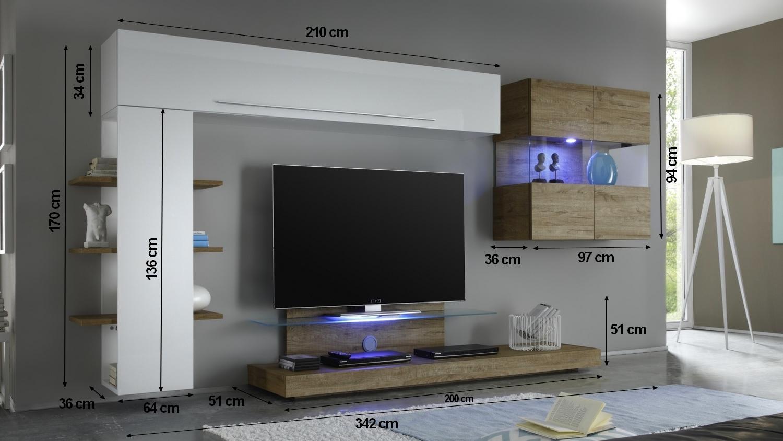 meuble tv mural blanc et bois miel avec
