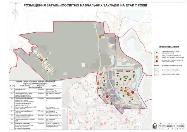 Генплан Оболонского района новые школы