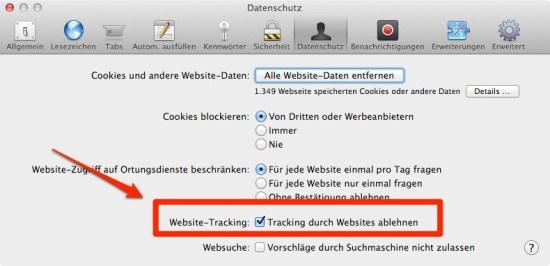 Safari Do not track