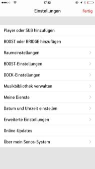 Sonos Controlle App iPhone7
