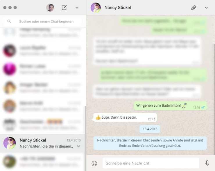 WhatsApp Windows OS X 1