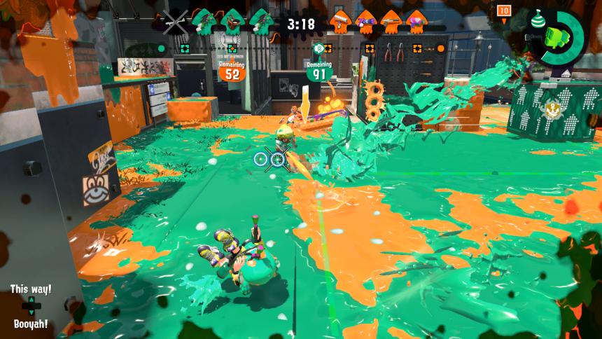 Screenshot Splatoon 2 - grün auf dem Weg zum Sieg