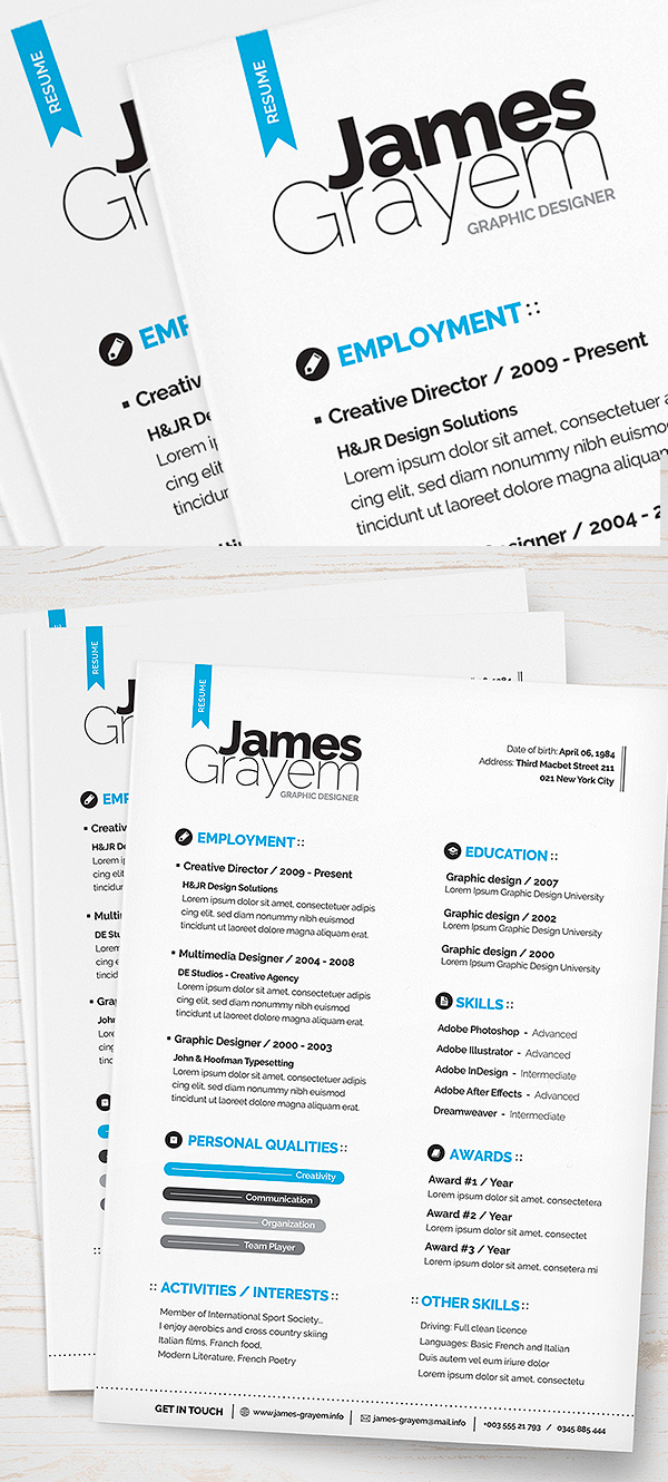 Template Of A Resume 15 Free Elegant Modern Cv Resume Templates Psd Freebies
