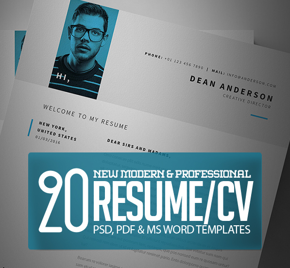Modern CV Resume Templates With Cover Letter Design