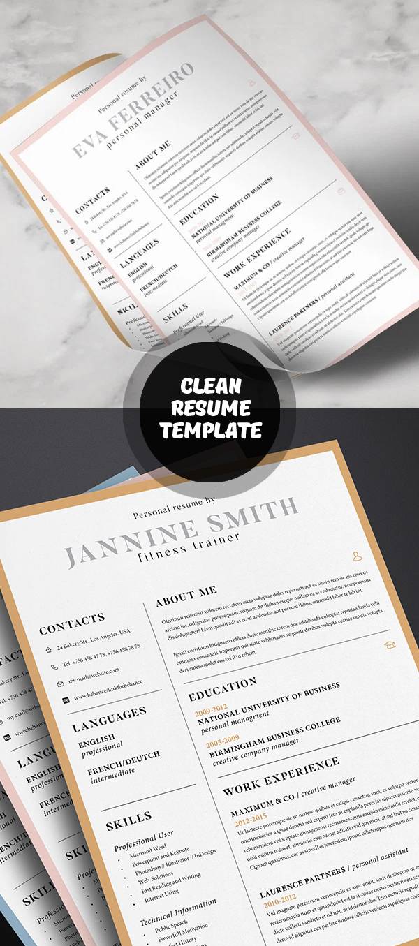 20 Free Cv / Resume Templates & Psd Mockups | Freebies | Graphic Design  Junction