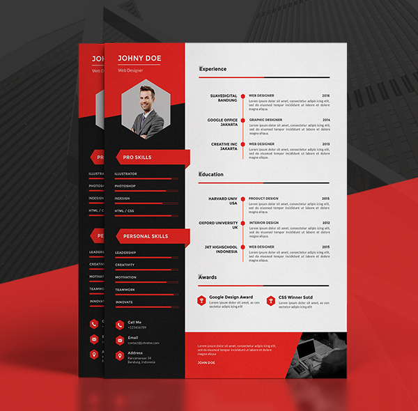 Modern CV Resume Templates Cover Letter & Portfolio Page