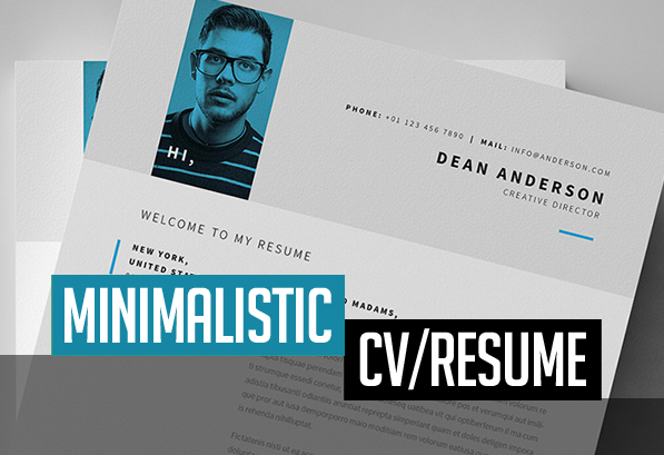 Free Minimalistic CVResume Templates With Cover Letter Template Design Graphic Design Junction