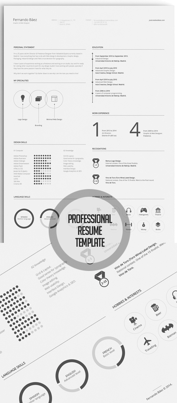 Free Minimalistic CV/Resume Templates with Cover Letter