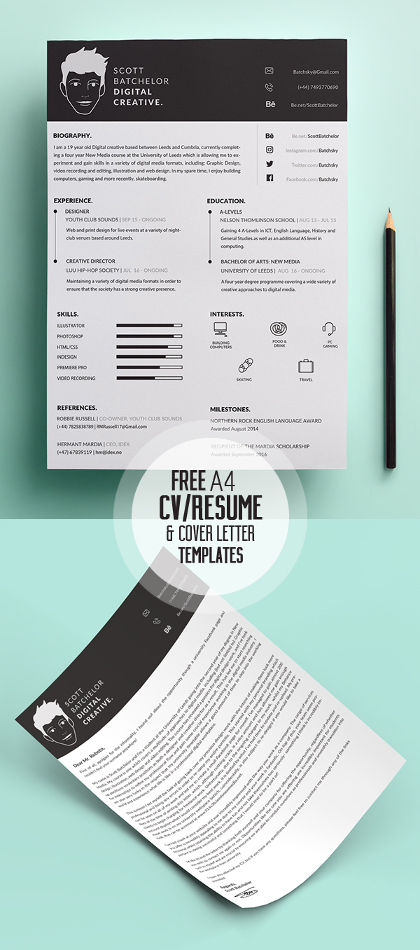 Online Graphic Designer Cover Letter 17 Free Clean Modern Cv Resume Templates Psd Freebies