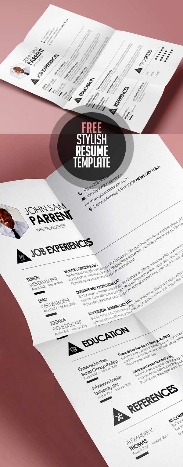 Simple And Stylish Design Cv/ Resume Template (Psd & Eps)