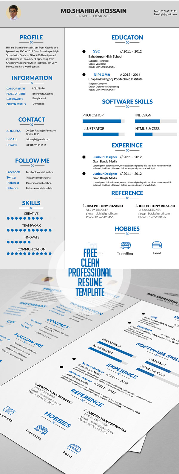 Free Clean Proffesional Resume Design