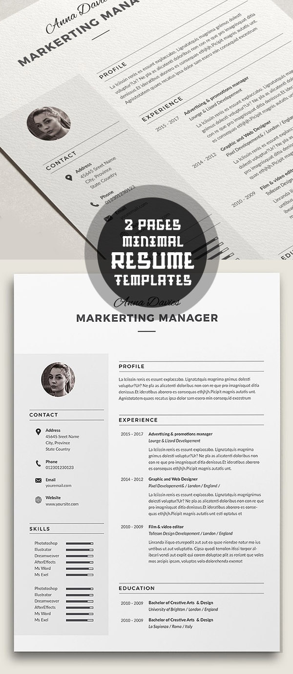 2 Pages Minimal Resume Template
