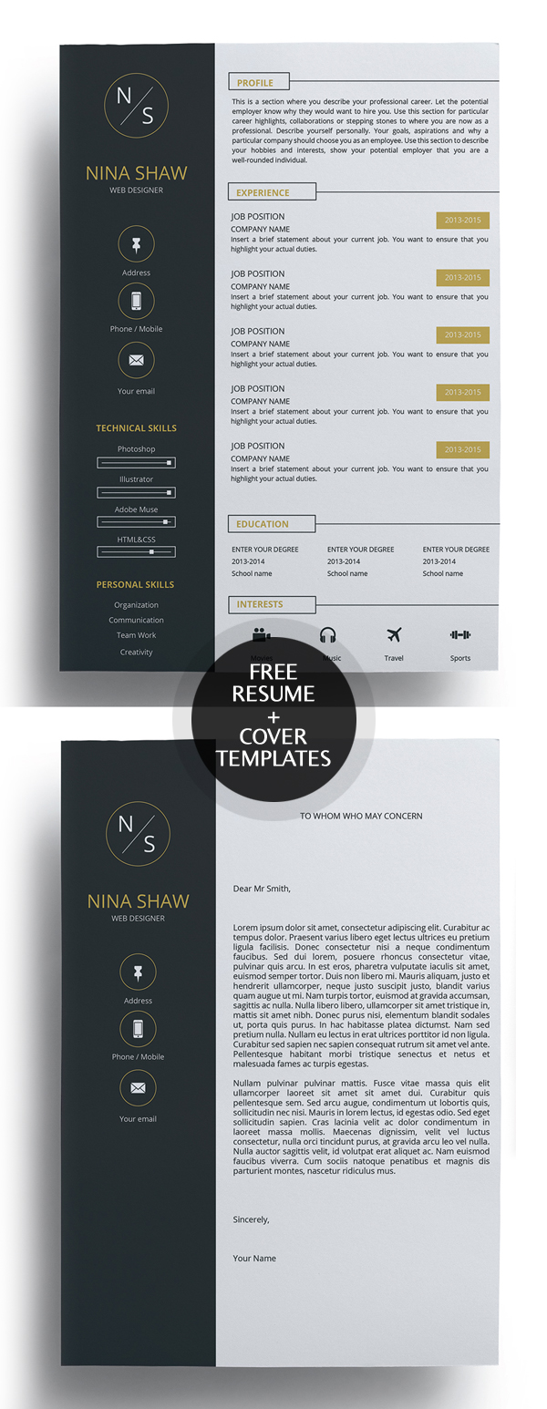 Free Sample Cover Letter For Resume 23 Free Creative Resume Templates With Cover Letter Freebies