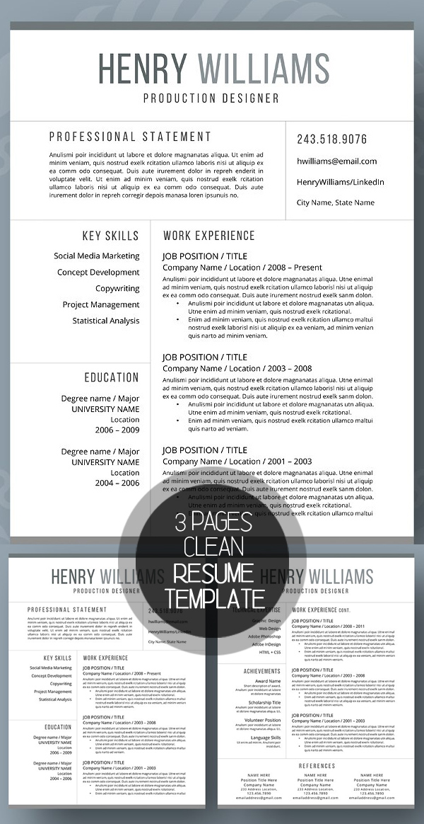 pages resume templates 2017