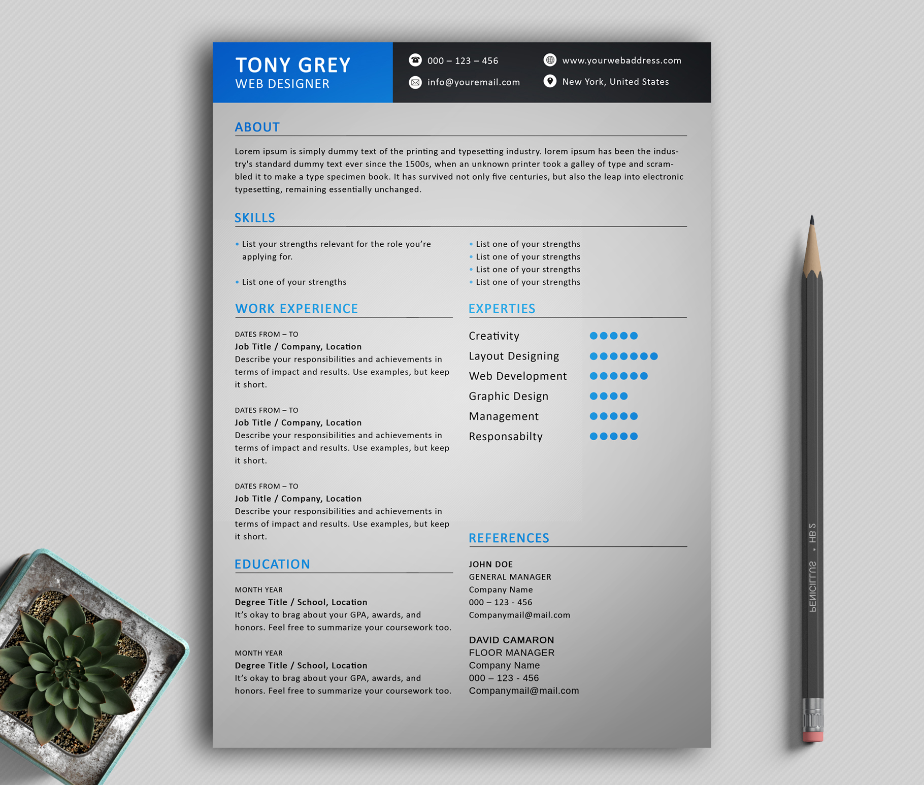 Freebie  Simple Resume Template with Cover Letter