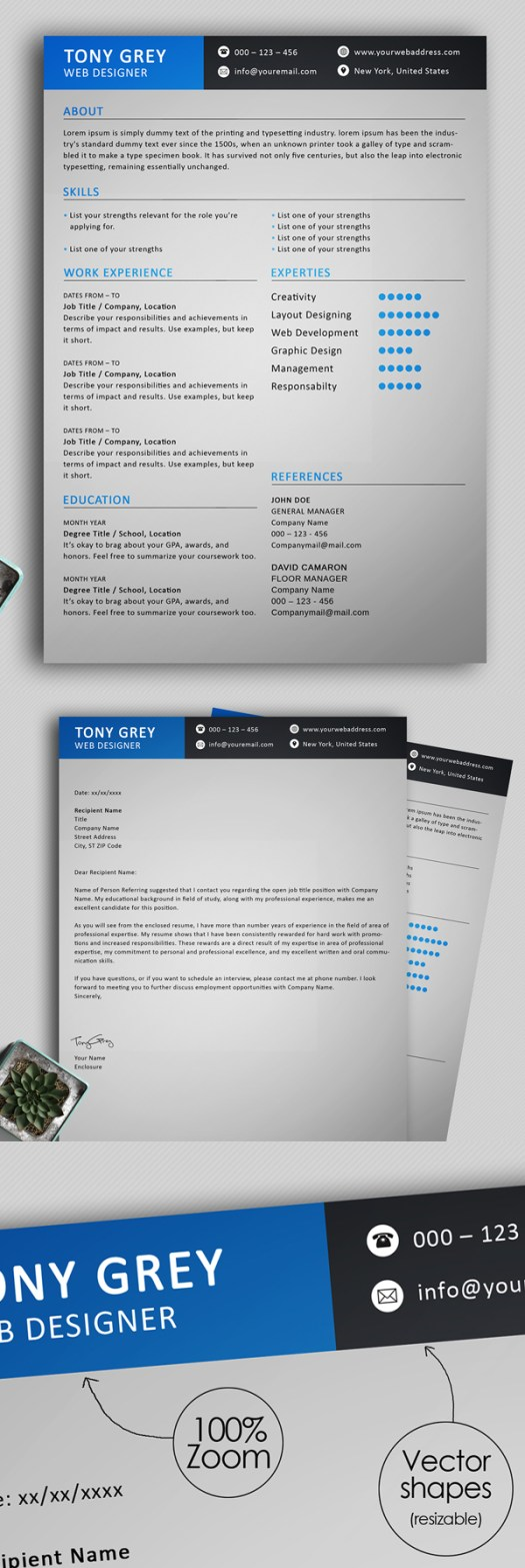 20 Free Simple Clean Resume Templates – Mixed Sign