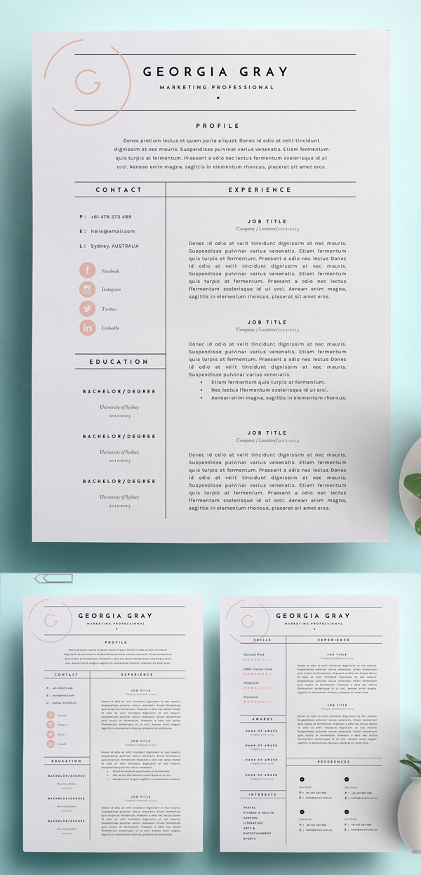 7 Best Word Resume Templates - Graphic Elements