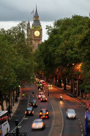 Traffic on Victoria Embankment with Big Ben in the background