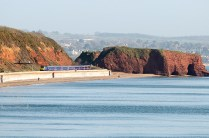 train on dawlish sea wall
