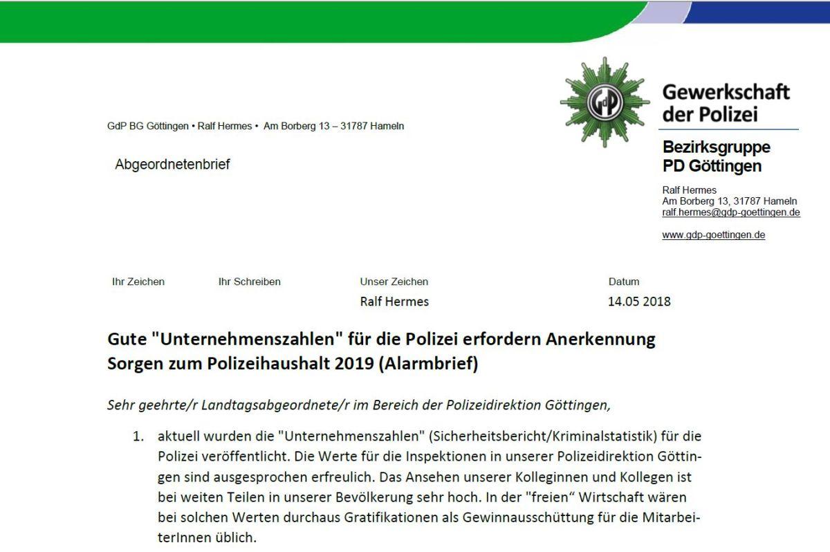 Alarmbrief der GdP Bezirksgruppe Göttingen an die Landtagsabgeordneten der Region