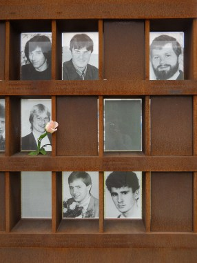 Photo of Chris Gueffroy (bottom row right) in Bernauer Street memorial to Wall and its victims (photo: author).