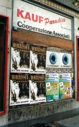 Ad for a Morrissey gig in nearby Leipzig on a empty storefront in central Bitterfeld (1999, author's photo).