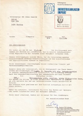 """The People's Own Foreign Trade Concern for Industrial Systems proudly displays its status as recipient of the """"Banner of Labour"""" in recognition of its contributions to the national economy. As would be appropriate for such an outfit, its letter is signed """"with socialist greetings""""."""