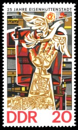 1975 stamp marking the city's 25th anniversary featuring the Womacka mosaic found in Leninallee.