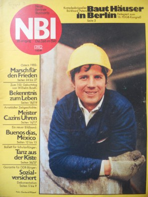 NBI, East Germany's equivalent to Life magazine, features a construction foreman working in Marzahn in an issue from April 1982 (photo: author)