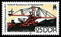 East German stamp from 1981 featuring machinery used in brown coal mining.