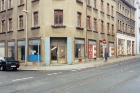 GDR-era grocery store, Konsum, sits empty in the Georg-Schwarz Strasse in 1999 (photo: author).
