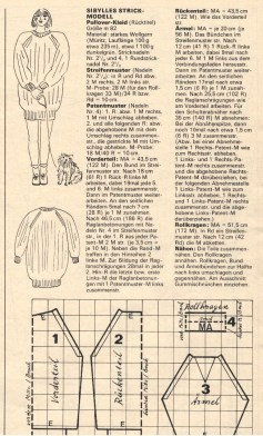 Pattern for knitted dress pictured at top right.