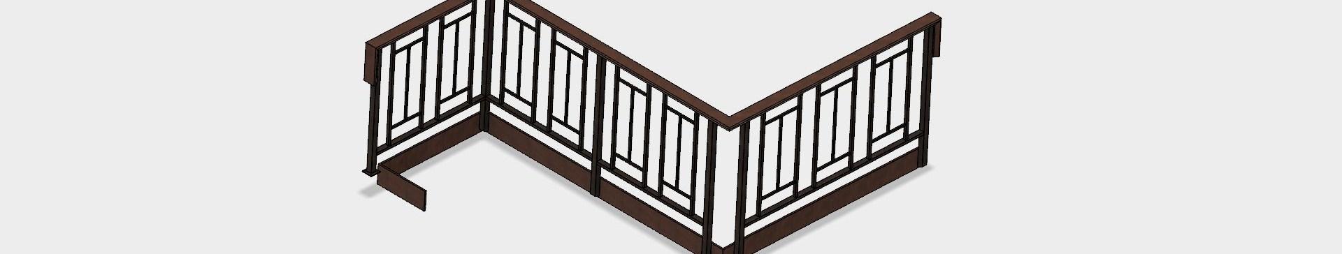 Mid Century Modern Railing Autodesk Online Gallery | Mid Century Modern Handrail | Cantilevered Spiral Stair | Art Deco | Modern Walnut | Tree Branch | Railing