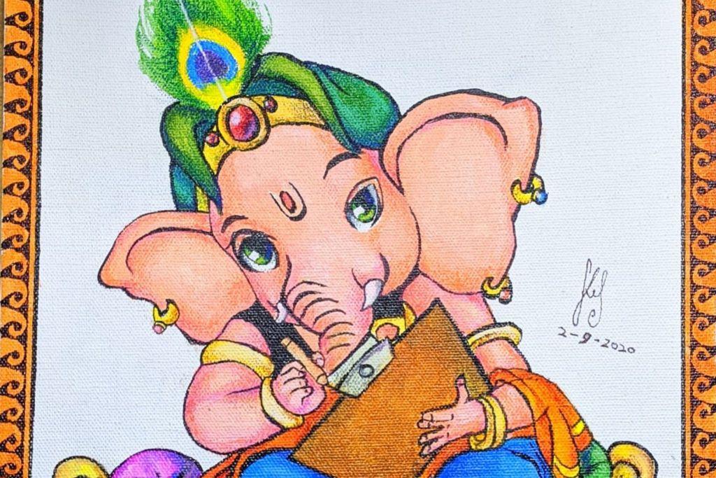 During lockdown Ganesha Idol making workshop was conducted by Art teacher Mrs Rati Sharma ( Ms.Gawas).
