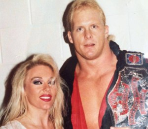 Jeanie Clarke with Steve Austin as TV Champion in WCW