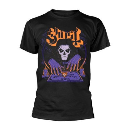 Ghost Witchboard T-Shirt - Papa Emeritus III's gloved hands and painted mask hang over a Ouija board surrounded by candles. The darkness is coloured purple while the candle lights generate an orange glow which matches the bright orange Ghost logo at the top of the shirt.