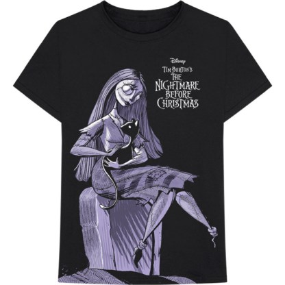 Disney The Nightmare Before Christmas Sally Jumbo Print T-Shirt - a black t-shirt with a purple image of Sally sitting on a box, stroking the black cat