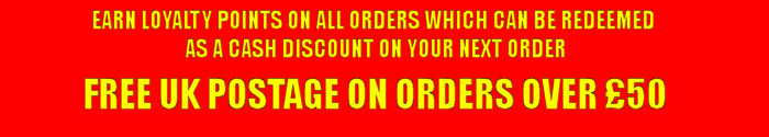 """A red image with yellow text - """"Earn loyalty points on all orders which can be redeemed as a cash discount on your next order. Free UK postage on orders over £50."""""""