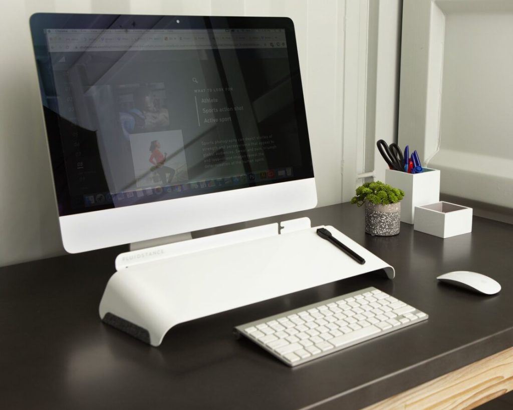 work desk products with FluidStance Slope whiteboard office products