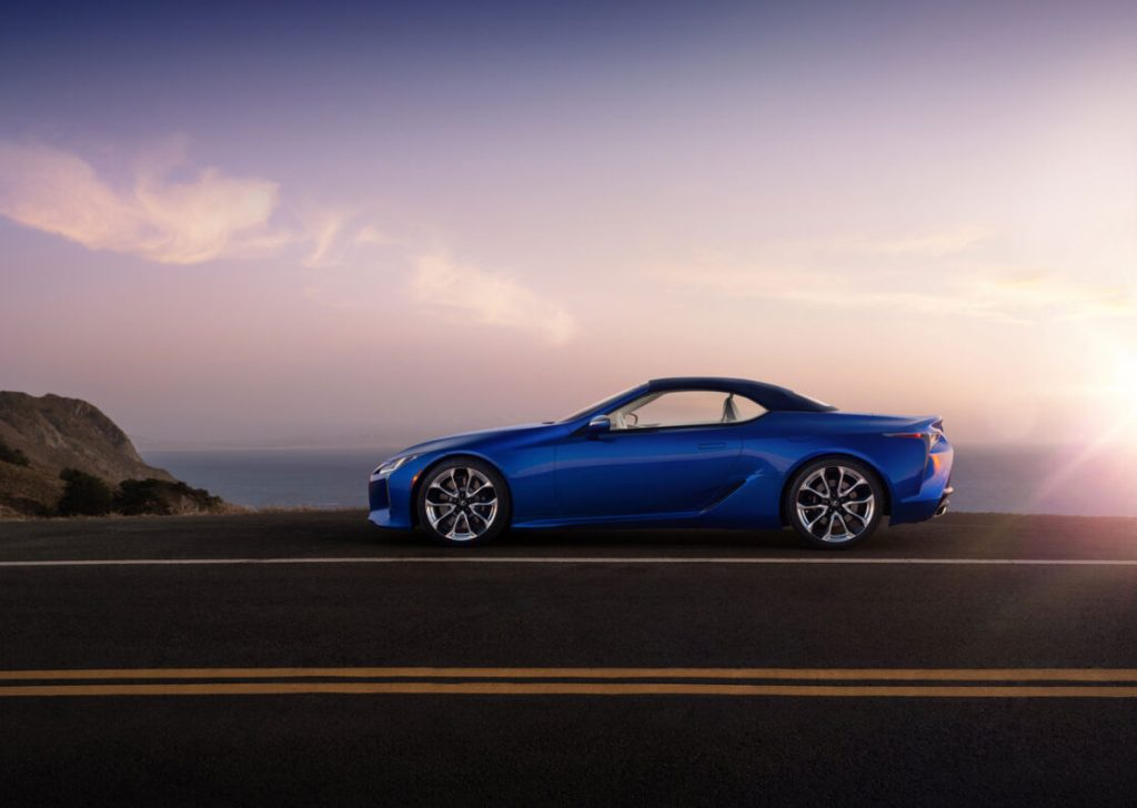 The 2021 Lexus LC 500 Convertible parked along the ocean in a sunset.