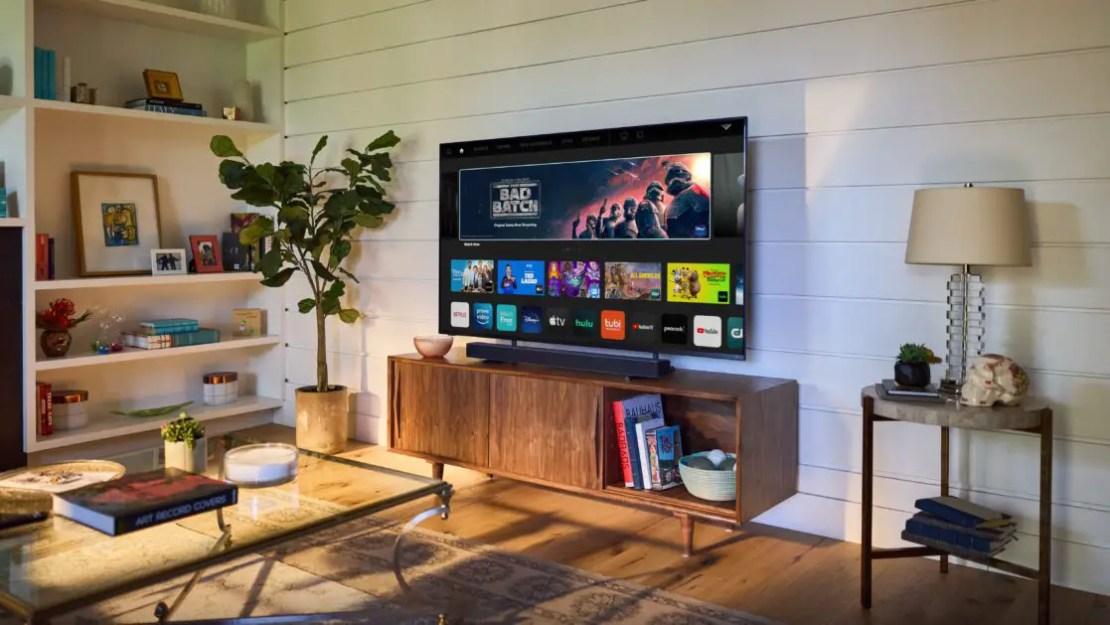 The VIZIO entertainment center set up with the smart TV and the nice, V series soundbar.