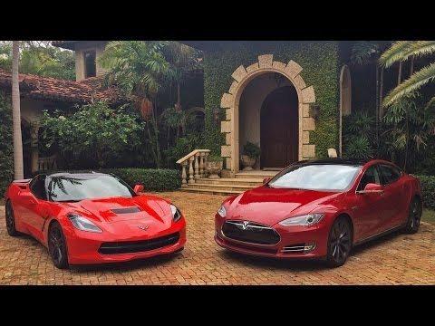 A Tesla Model S Drag-races a 2014 Corvette Stingray 6