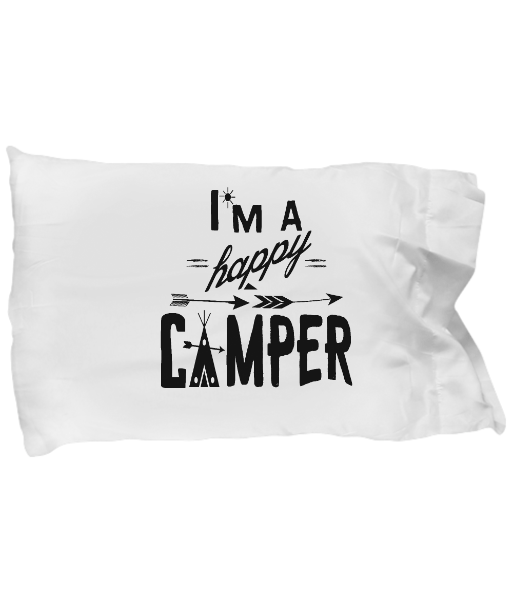 camping pillow case happy camper